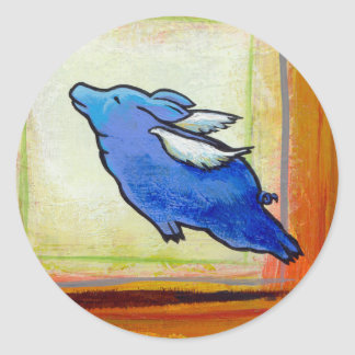 Titled:  Little Blue Pig - flying hope faith ART Classic Round Sticker