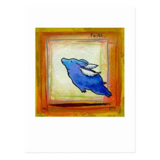 Titled:  Little Blue Pig - flying hope faith ART Post Card