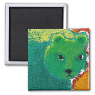 Titled:  My Friend is a Bear - fun angry art 2 Inch Square Magnet