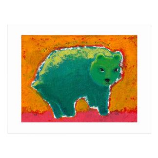 Titled:  My Friend is a Bear - fun angry art Postcard