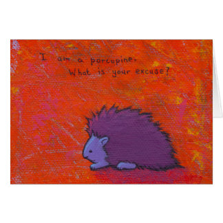 Titled:  Prickly - Fun colorful porcupine art Card
