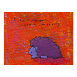 Titled:  Prickly - Fun colorful porcupine art Postcard