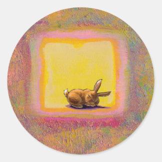 Titled:  Respite - Peaceful sleeping rabbit ART Classic Round Sticker