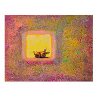 Titled Respite - Peaceful sleeping rabbit ART Post Card