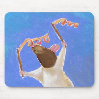 Titled:  Rhythmic Gymnastics - fun happy rat art Mouse Mats