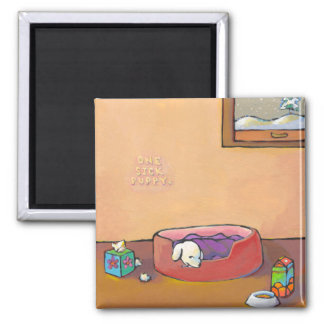 Titled: Sick Puppy - adorable art cold flu health 2 Inch Square Magnet