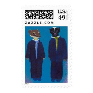 Titled:  Skunks and Weasels - skunk / weasel art! Stamps