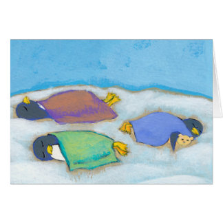 Titled:  Snoozing - adorable napping penguin art Card