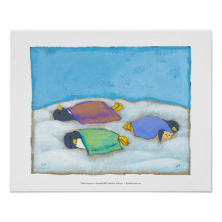 Titled:  Snoozing - adorable napping penguin art Posters