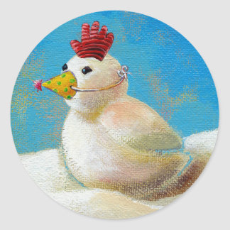 Titled:  Snow Birds - fun snow chicken art! Classic Round Sticker