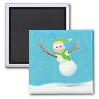 Titled:  Snow Flake - goofy leaping snowman ART Fridge Magnets