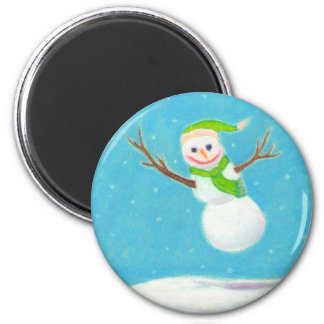 Titled:  Snow Flake - goofy leaping snowman ART Magnet