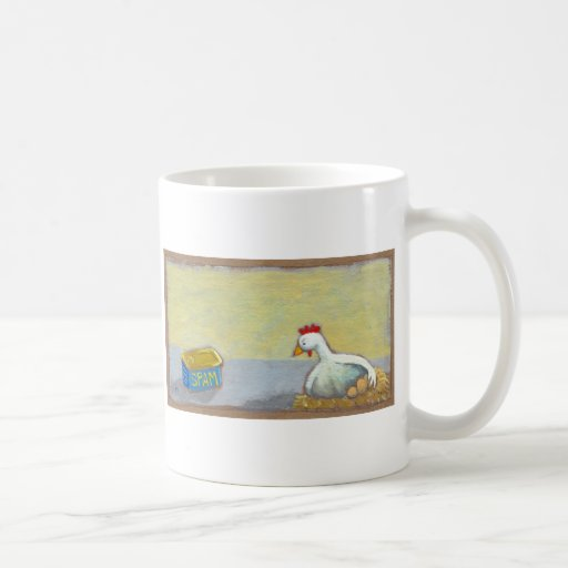 Titled: Spam and Eggs - fun breakfast art chicken Mugs