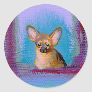 Titled:  Very Very Small - Tan chihuahua dog Stickers