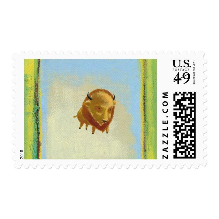 Titled:  Weightless - Beautiful floating buffalo Postage