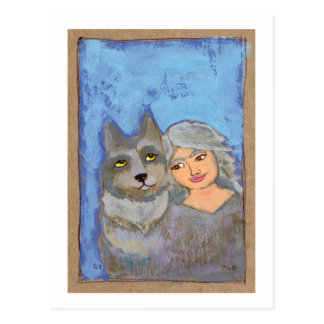 Titled: Wolf Woman - fun modern folk art painting Postcard