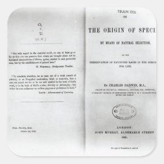 Titlepage a 'en el origen de las especies pegatina cuadrada
