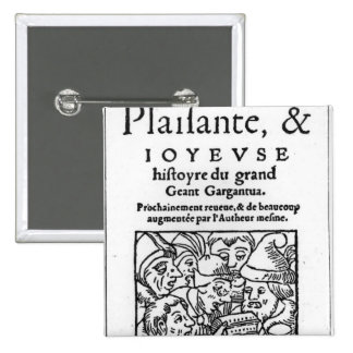 "Titlepage de ""Gargantua"" por Francois Rabelais Pin Cuadrada 5 Cm"