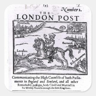 Titlepage 'de las noticias de Londres Pegatina Cuadrada