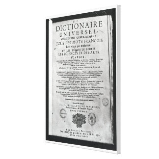 Titlepage   'Dictionnaire Universel' by Canvas Print