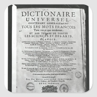 Titlepage   'Dictionnaire Universel' by Square Sticker