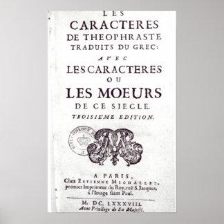 Titlepage 'Les Caracteres de Theophraste Posters