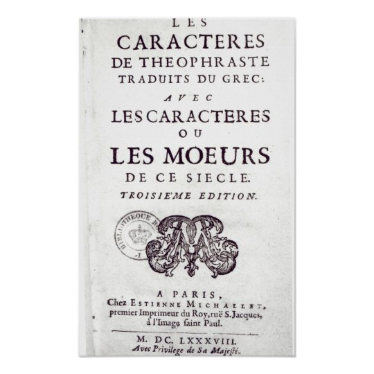 Titlepage 'Les Caracteres de Theophraste Poster