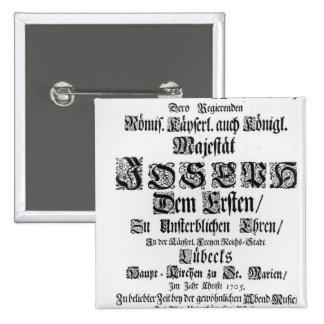 Titlepage of Abendmusik, 1705 Pinback Button