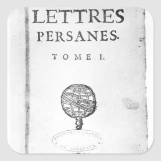 Titlepage of 'Les Lettres Persanes' Square Sticker