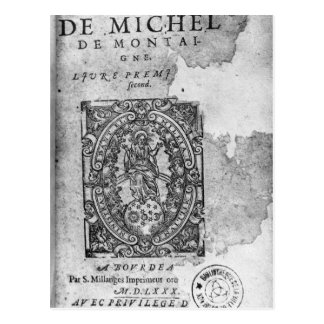 Titlepage of the first edition of 'Essais' Postcard