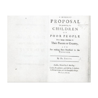 Titlepage to 'A Modest Proposal' Stretched Canvas Print
