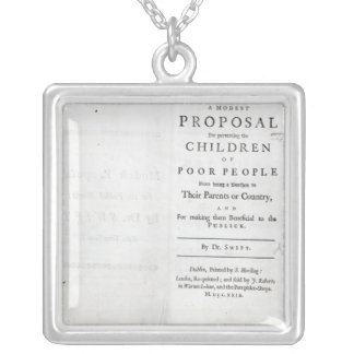 Titlepage to 'A Modest Proposal' Silver Plated Necklace