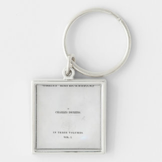 Titlepage to Great Expectations by Charles Silver-Colored Square Keychain