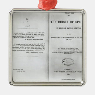 Titlepage to 'On the Origin of Species' Metal Ornament