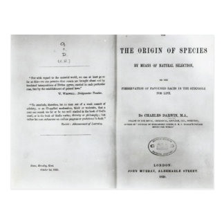 Titlepage to 'On the Origin of Species' Post Cards