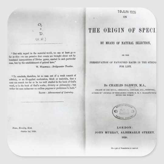 Titlepage to 'On the Origin of Species' Square Sticker