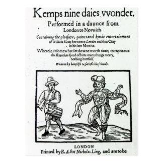 Titlepage to William Kemp's Postcard