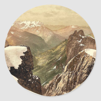 Titlis, view of the Alps, Bernese Oberland, Switze Classic Round Sticker