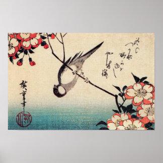 Titmice en una rama de la cereza, Hiroshige Póster