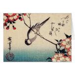 Titmice en una rama de la cereza, Hiroshige Tarjetas