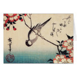 Titmice on a Cherry Branch, Hiroshige Greeting Card