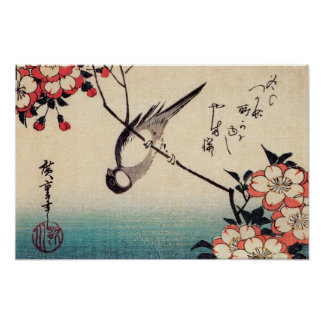 Titmice on a Cherry Branch, Hiroshige Poster