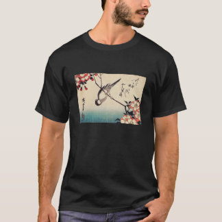 Titmice on a Cherry Branch, Hiroshige T-Shirt