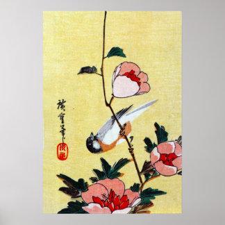 Titmouse and Peonies, Hiroshige Print