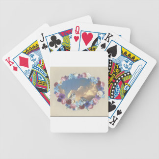 titmouse couple in floral wreath bicycle playing cards