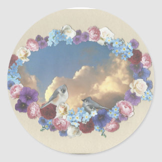 titmouse couple in floral wreath classic round sticker