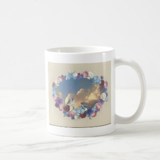 TITMOUSE COUPLE IN FLORAL WREATH COFFEE MUG