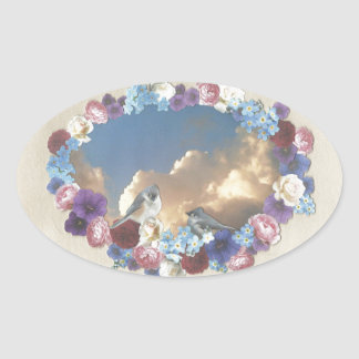 titmouse couple in floral wreath oval sticker