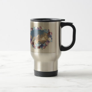 titmouse couple in floral wreath travel mug