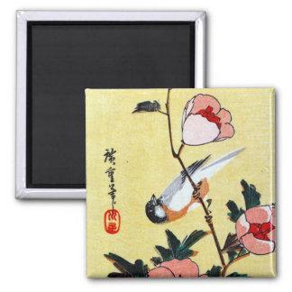 Titmouse y Peonies, Hiroshige Imán Para Frigorifico